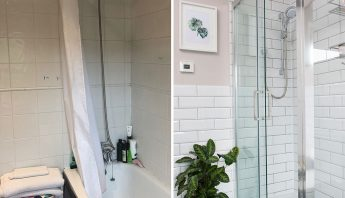 Before and after – a new layout has taken this bathroom from dreary to delightful