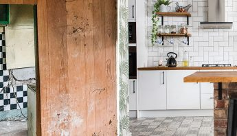 Before and after: a derelict kitchen becomes a light and sociable space