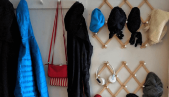 Quick, easy hat and coat rack for the mudroom