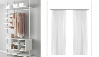 Hackers Help: How to use ELVARLI posts for a room divider curtain?